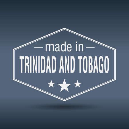 trinidad: made in Trinidad and Tobago hexagonal white vintage label