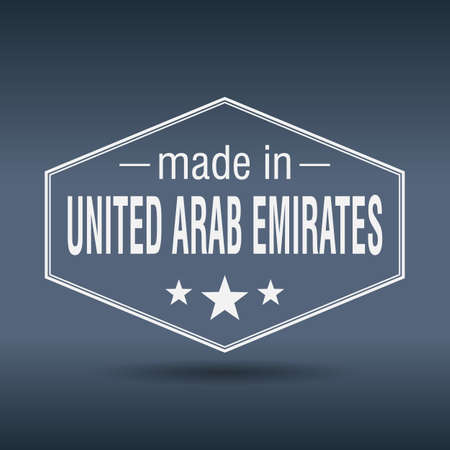 made in United Arab Emirates hexagonal white vintage label Vector