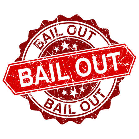 bail: Bail out red vintage stamp isolated on white background