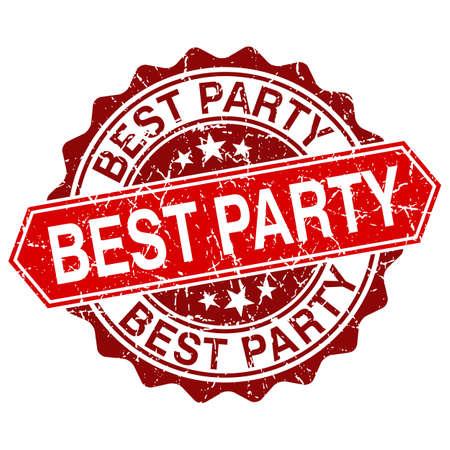 best party: Miglior partito Vintage timbro rosso isolato su sfondo bianco