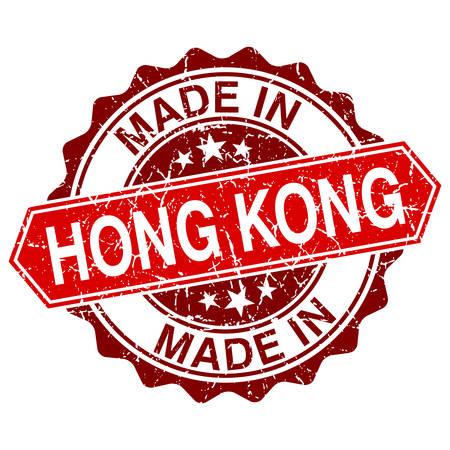 gemaakt: gemaakt in Hong Kong rode stempel geïsoleerd op een witte achtergrond