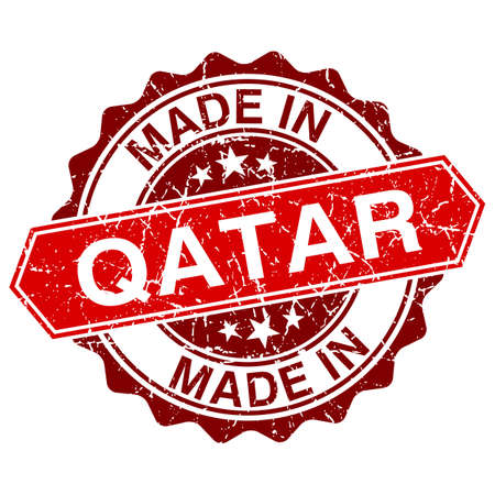made in Qatar vred stamp isolated on white background Vector