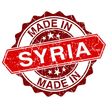 made in Syria red stamp isolated on white background Vector