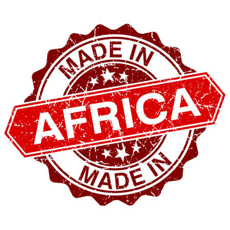 hand crafted: made in Africa red stamp isolated on white background