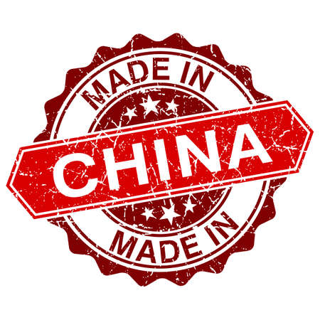 made in china: made in China red stamp isolated on white background