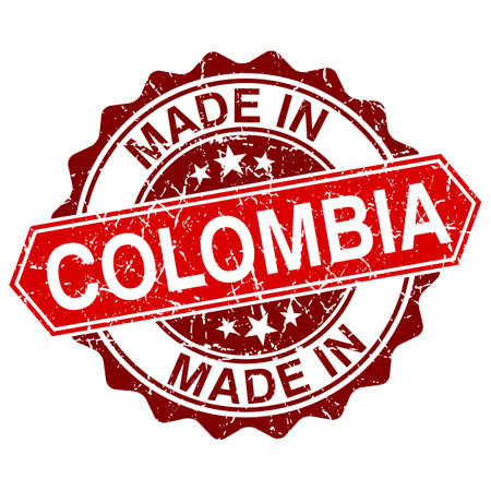 made in Colombia red stamp isolated on white background Vector