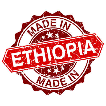 made in Ethiopia red stamp isolated on white background Vector