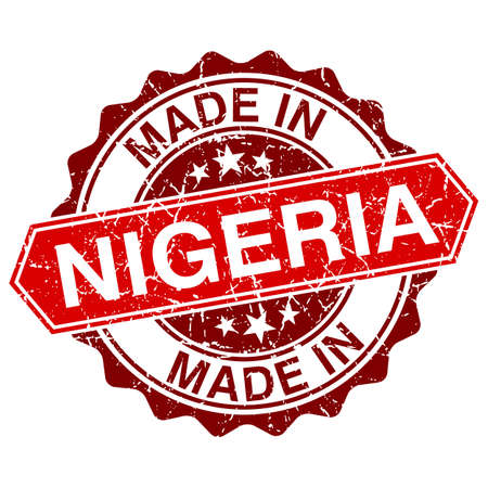 made in Nigeria red stamp isolated on white background
