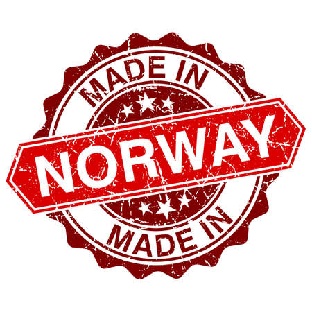 made in Norway red stamp isolated on white background Vector