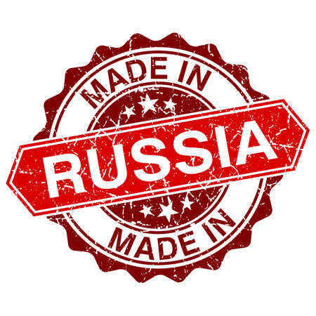 made in russia: made in Russia red stamp isolated on white background