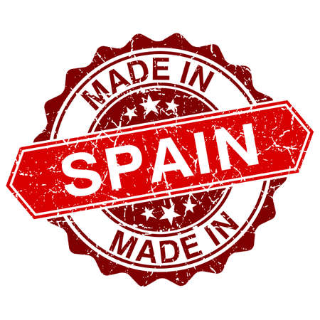 made in spain: made in Spain red stamp isolated on white background