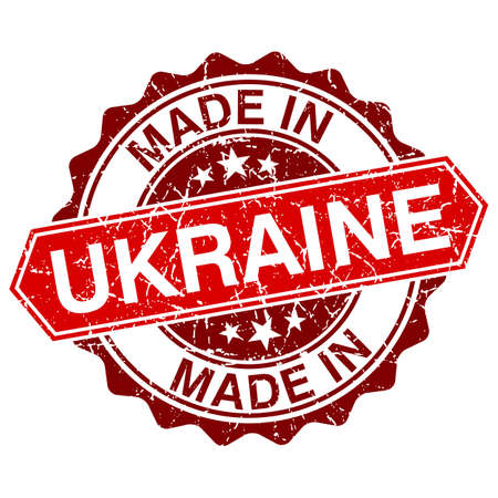 made in Ukraine red stamp isolated on white background Vector