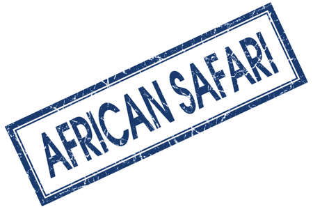 african safari blue square stamp isolated on white background photo