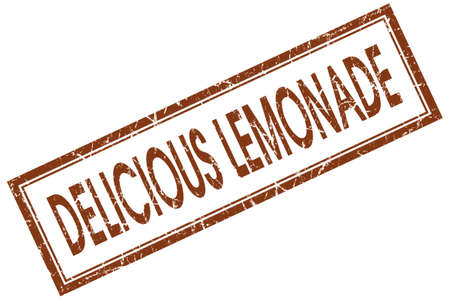 delicious lemonade red square stamp isolated on white background photo