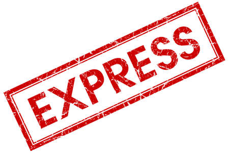 express red square stamp isolated on white background photo