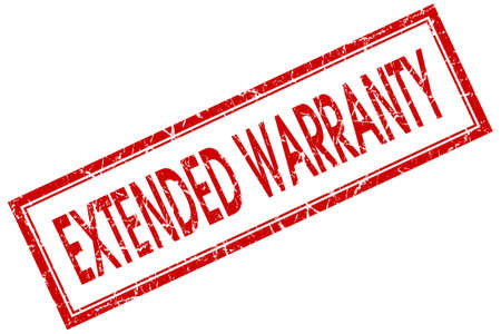 extensive: extended warranty red square stamp isolated on white background