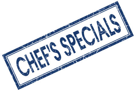specials: chefs specials blue square stamp isolated on white background