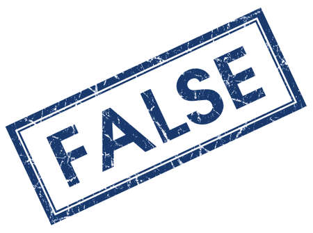 false: false blue square stamp isolated on white background