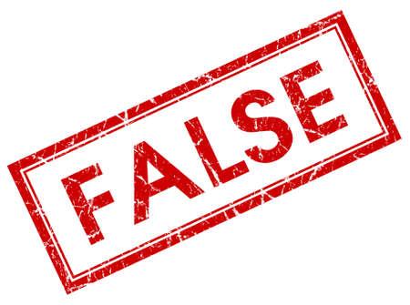false: false red square stamp isolated on white background