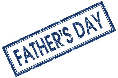 fathers day blue square stamp isolated on white background photo