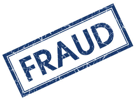 fraudulent: fraud blue square stamp isolated on white background