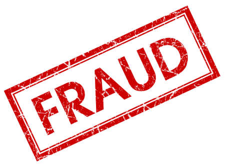 counterfeit: fraud red square stamp isolated on white background