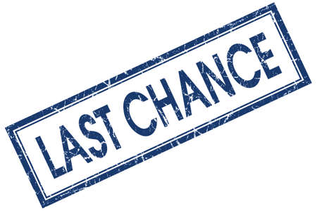 last chance blue square stamp isolated on white background photo
