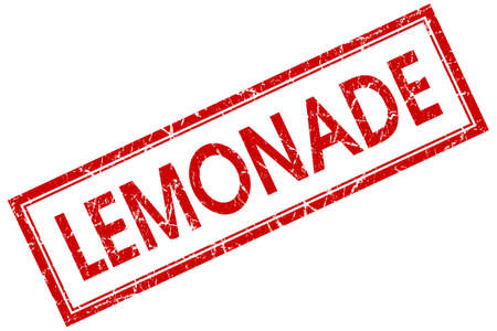 lemonade red square stamp isolated on white background photo