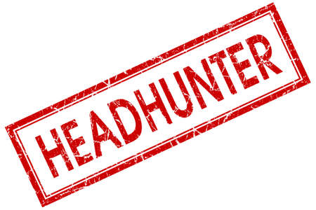 headhunter: headhunter red square stamp isolated on white background Stock Photo
