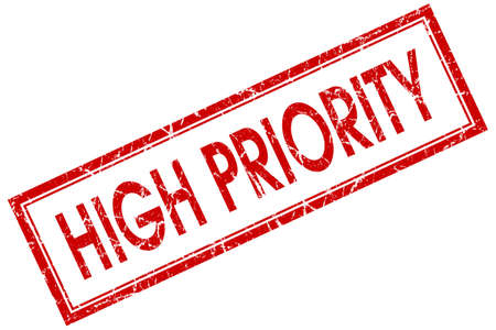 prioritize: high priority red square stamp isolated on white background
