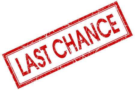 last chance red square stamp isolated on white background photo