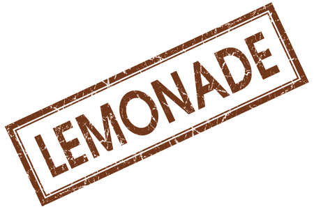 lemonade brown square stamp isolated on white background photo