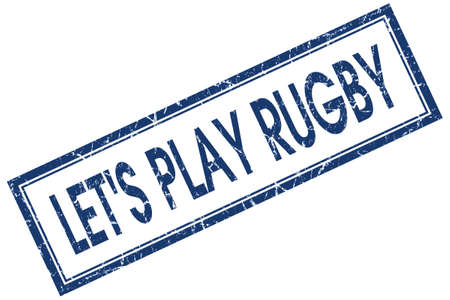 lets play rugby blue square stamp isolated on white background photo