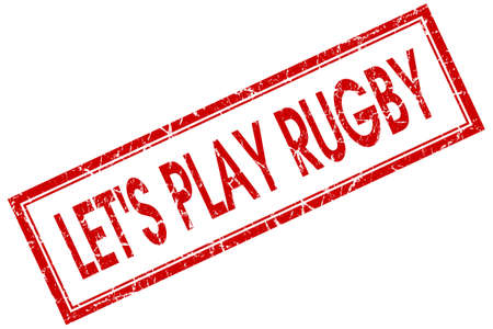 lets play rugby red square stamp isolated on white background photo