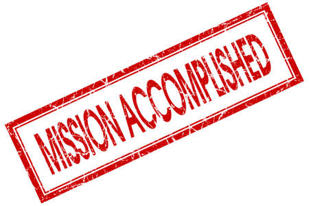 mission accomplished red square stamp isolated on white background photo