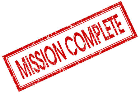 mission complete red square stamp isolated on white background photo