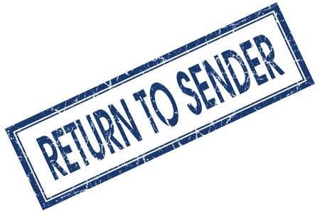 sent: return to sender blue square stamp isolated on white background