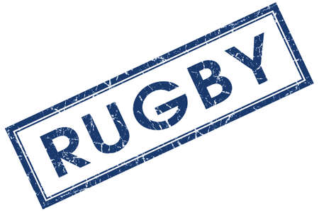 high school series: rugby blue square stamp isolated on white background