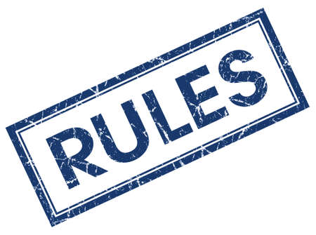 rules blue square stamp isolated on white background photo