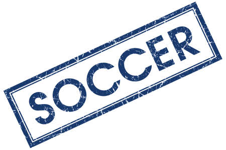 soccer blue square stamp isolated on white background photo