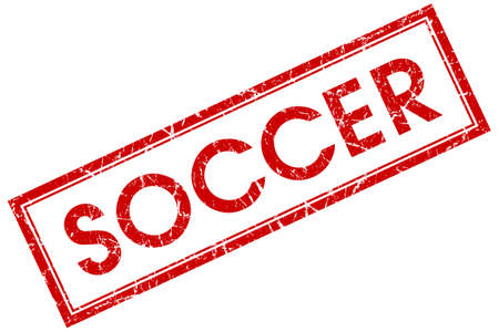 soccer red square stamp isolated on white background photo
