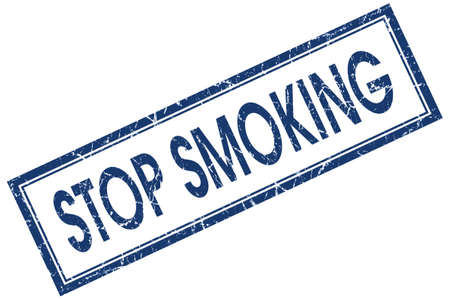 stop smoking blue square stamp isolated on white background photo