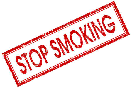 stop smoking red square stamp isolated on white background photo