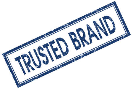 trusted brand blue square stamp isolated on white background photo