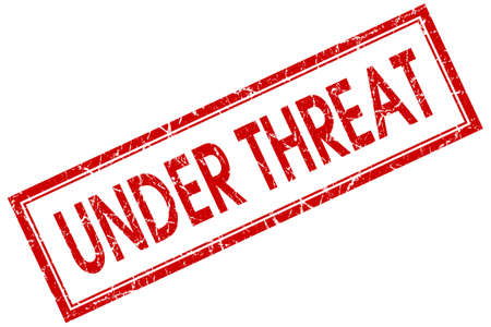 threat: under threat red square stamp isolated on white background