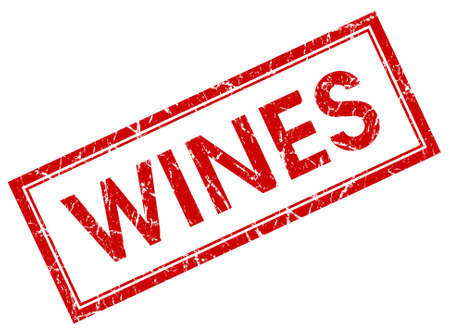 finest: wines red square stamp isolated on white background