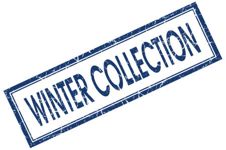 winter collection blue square stamp isolated on white background photo
