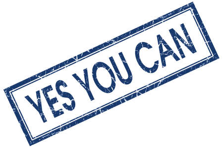 yes you can: yes you can blue square stamp isolated on white background Stock Photo