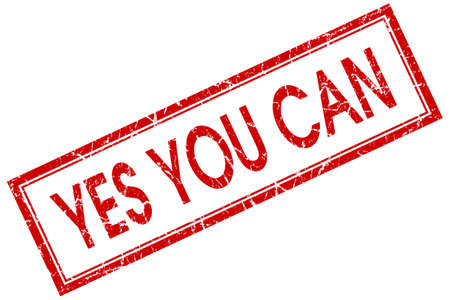 can yes you can: yes you can red square stamp isolated on white background Stock Photo