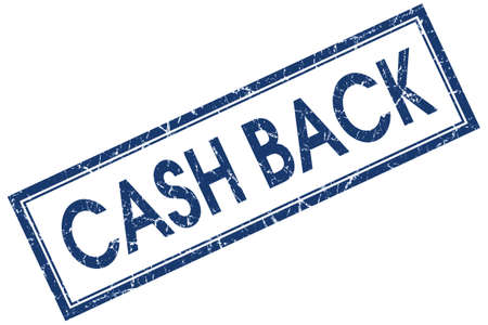 cash back blue square stamp isolated on white background photo